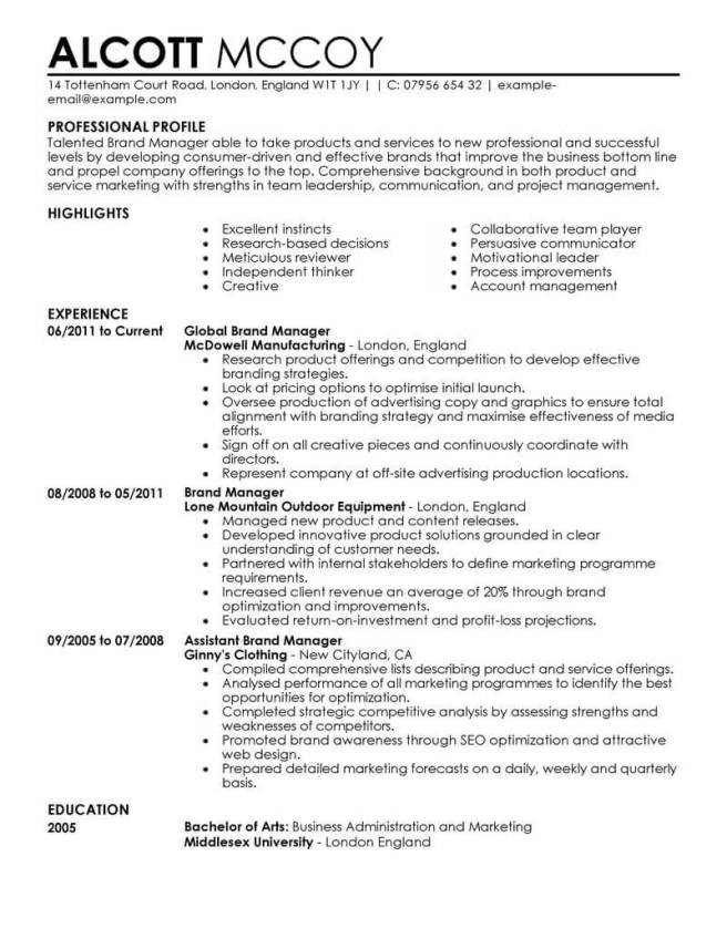Resume example for marketing manager.