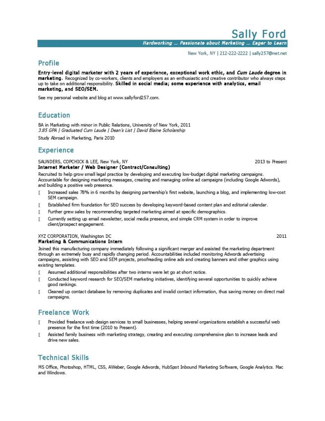 Resume example for entry-level marketing job.