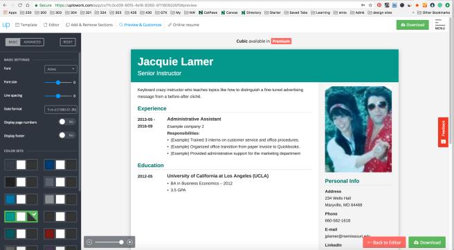 UpToWork's online resume template builder.
