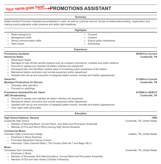 Broadcast major resume example.