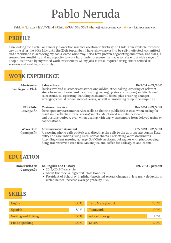 Resume example with skills area.
